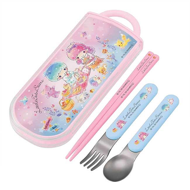 滑蓋三件式餐具組 日本 三麗鷗 雙子星 kikilala 環保餐具 日本進口正版授權