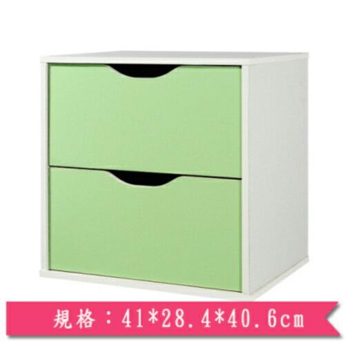 魔術方塊雙層抽屜收納櫃-綠【愛買】