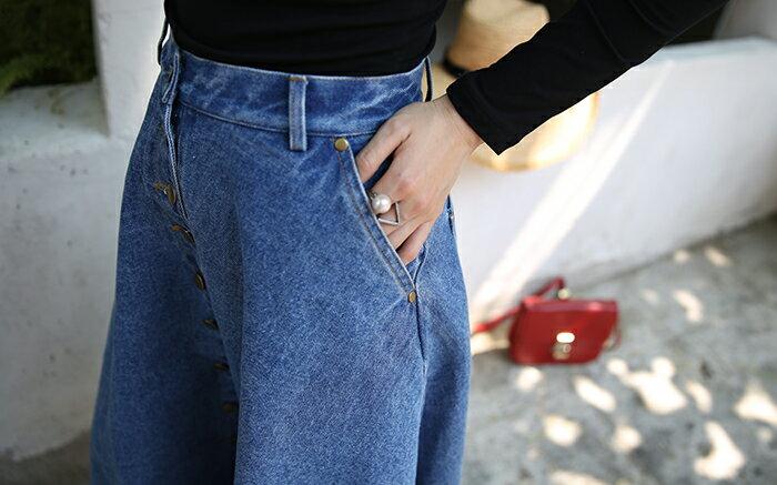 牛仔裙 - 韓版高腰排釦牛仔長裙【23288】藍色巴黎《2色》現貨+預購 3