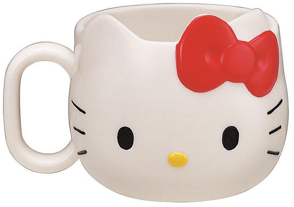 X射線【C144974】Kitty凱蒂貓大臉造型塑膠杯/水杯(白色)240ml