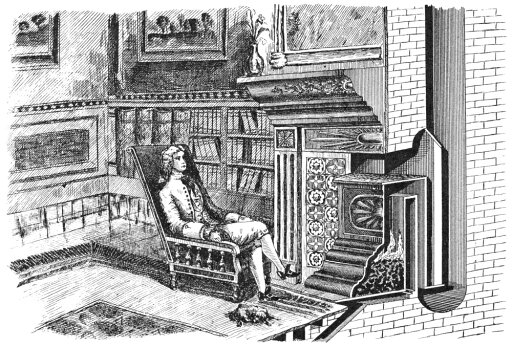 Franklin Stove Ndesigned Just Before He Began His Electrical Experiments The Important Feature Was The Flue Which Doubled Back And Formed A Sort Of Radiator Rolled Canvas Art - (18 x 24)