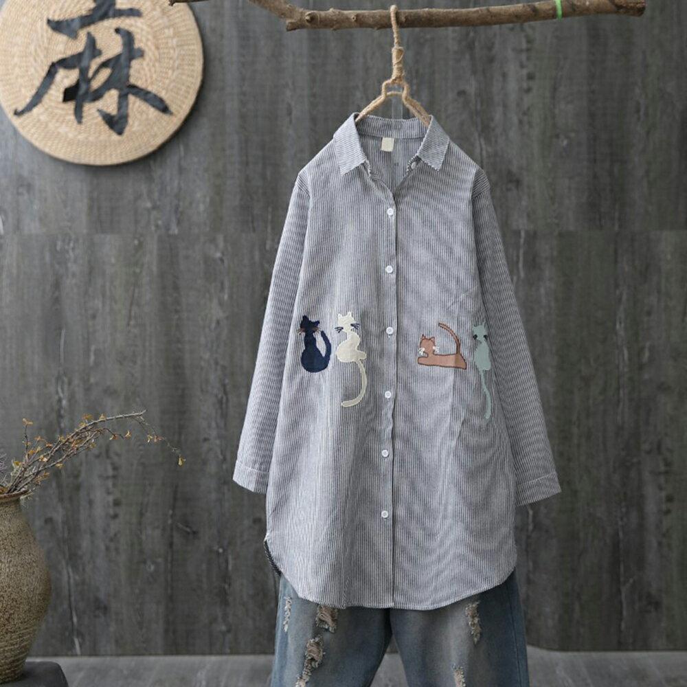 中長款卡通貓咪刺繡條紋長袖襯衫(2色XL~4XL)【OREAD】 2