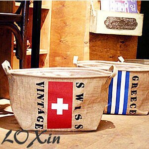 Loxin【BA0463】韓風 zakka 復古 棉麻復古國旗收納袋 收納箱 衣物收納 雜物收納 髒衣籃
