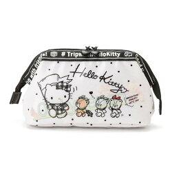 【真愛日本】19011600011 寬口拉鍊化妝包-KT旅行白AED 凱蒂貓kitty 化妝包 彩妝收納 零錢包 小物收納