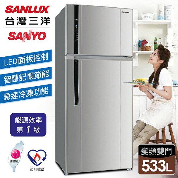 ~ 三洋 SANLUX~533公升LED顯示雙門變頻冰箱/銀色 SR~B533BV