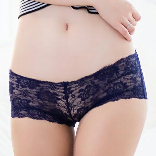 FLORA LOVELY 蕾絲無痕日本平口褲(藍)