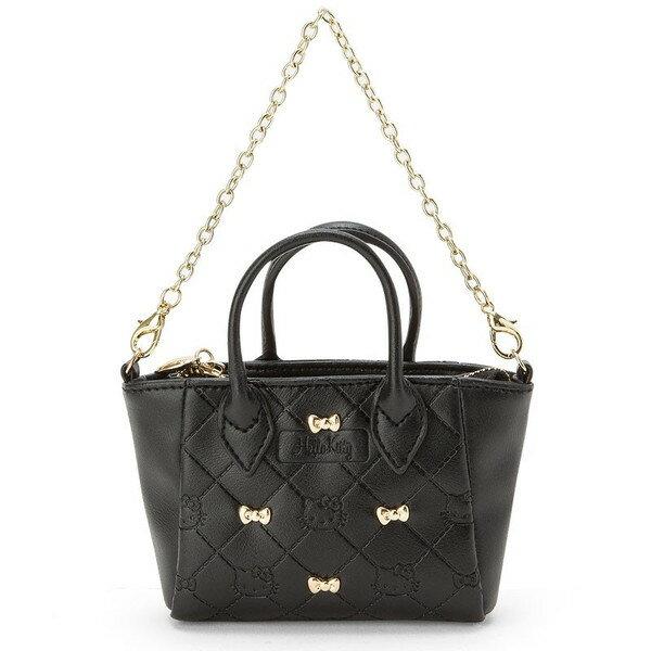 【真愛日本】16122100045迷你掛鍊托特皮革錢包-KT壓印黑   三麗鷗 Hello Kitty 凱蒂貓 手提包  包包   鍊包