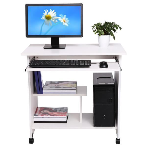 Movable Wooden Table Computer Desk Workstation with Keyboard Shelf 0