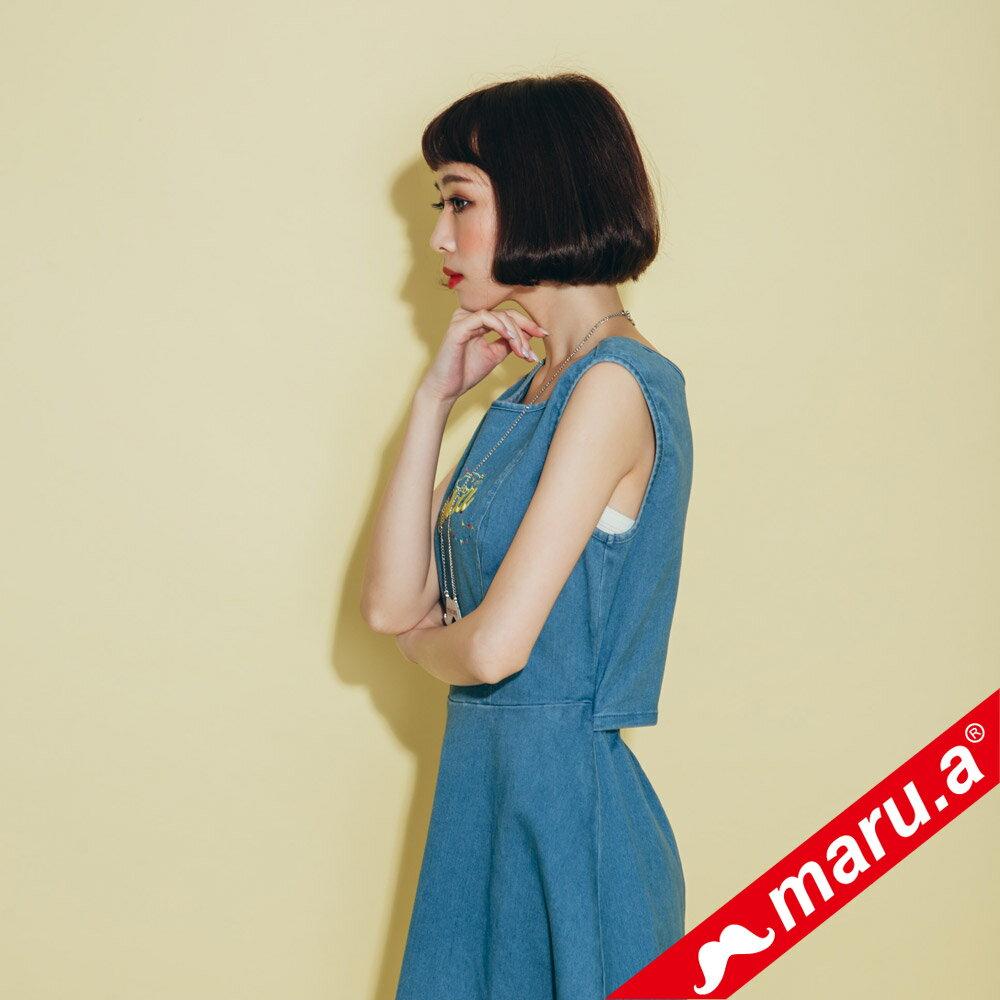 【maru.a】小飛象文字刺繡牛仔單寧洋裝(2色)8317117 2
