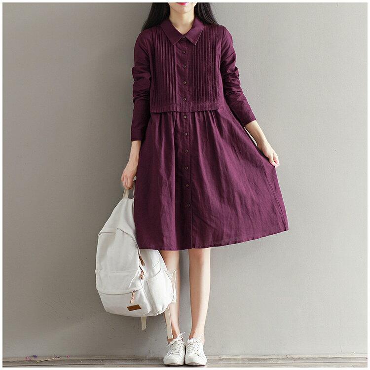 馬上出貨!中大 ^~紫雲^~ 寬鬆風琴褶棉麻長袖洋裝^(M^~2XL^) ~ 御聖願~全店