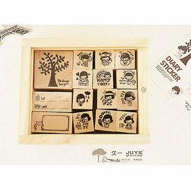 中大  韓文具童話樹下孩木製印章愛日記列愛木盒DIY印章貼紙15枚 印章 御聖願