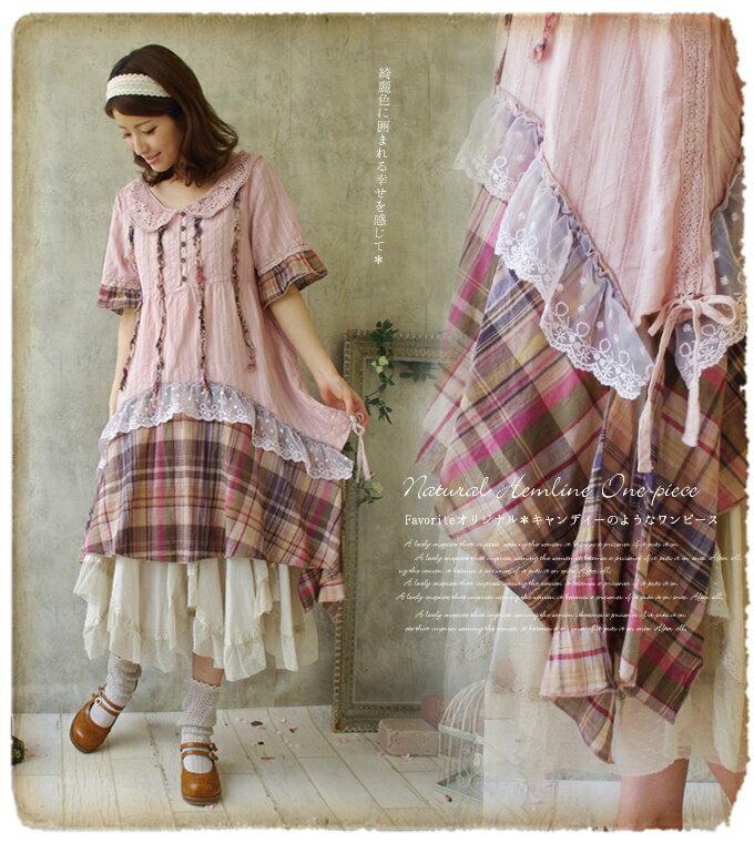 中大 ^~粉色音符^~ 棉質蕾絲格子拼接復古娃娃領洋裝 ~ 御聖願~全店單件,單筆滿520