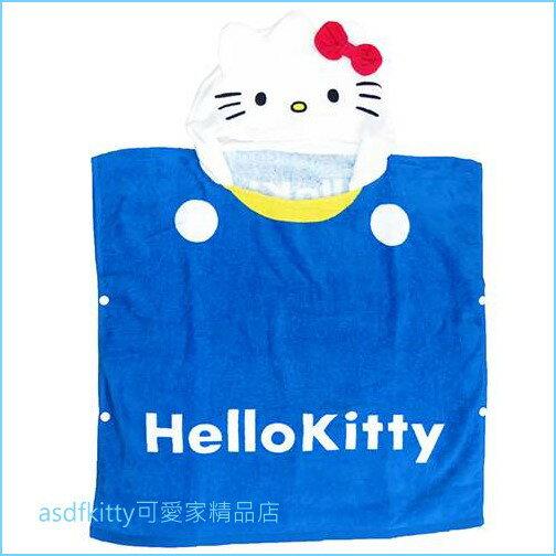 asdfkitty可愛家☆KITTY藍白色連帽浴巾毛巾游泳擦乾巾-60*120公分-日本正版商品