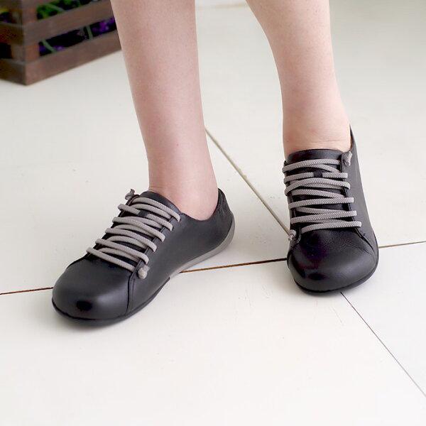 懶人鞋休閒鞋黑女鞋真皮平底鞋【SV9667】HappyLife
