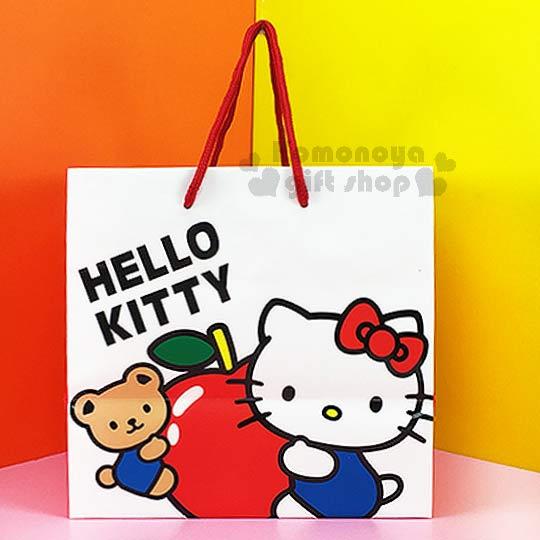 〔小禮堂〕Hello Kitty 寬底提袋《白.小熊.抱蘋果》送禮包裝最方便