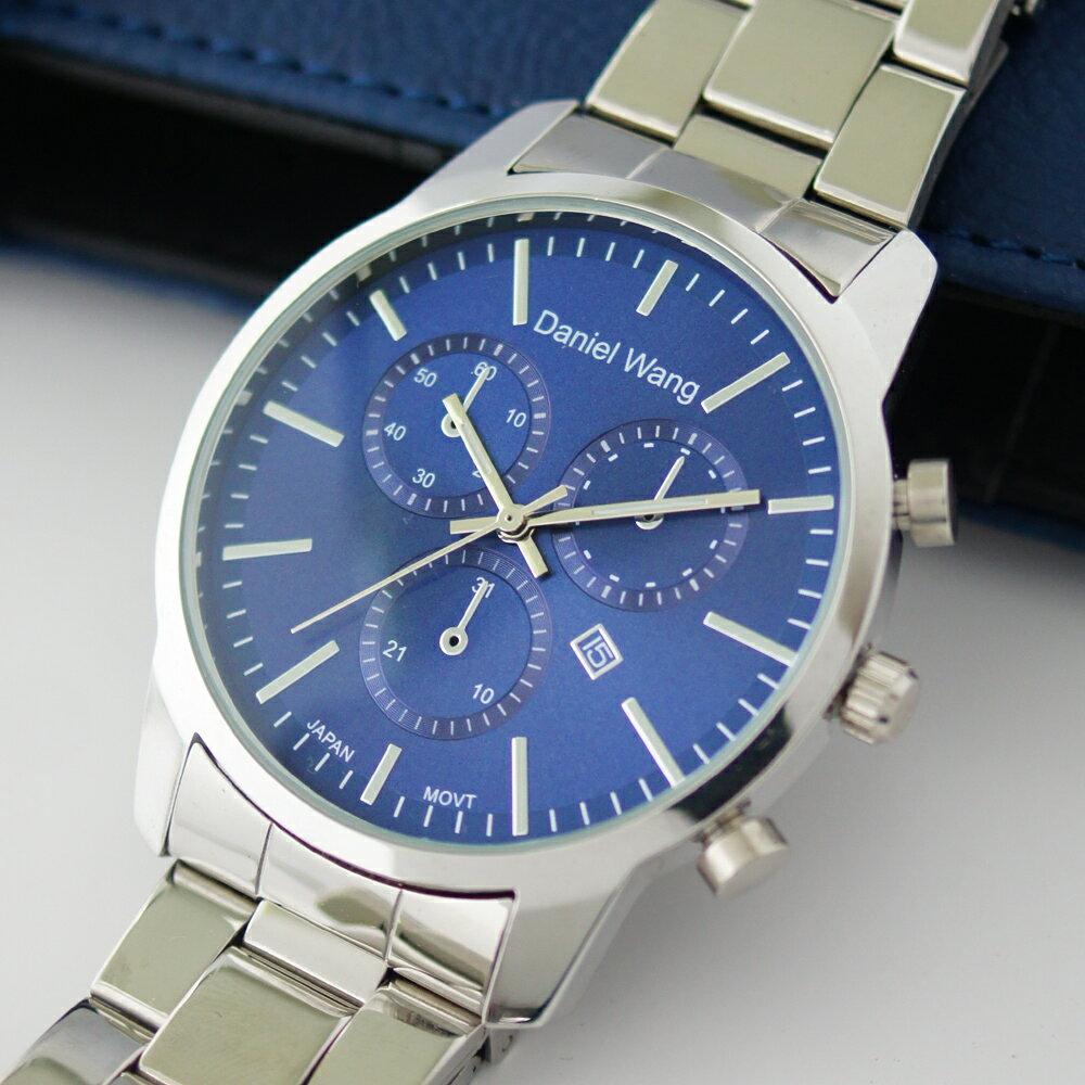Daniel Wang 3136-S 霸氣大錶面經典仿三眼石英銀框金屬男錶 2