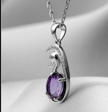 紫水晶天鵝吊墜 銀項鏈水晶吊墜 個性掛墜女士