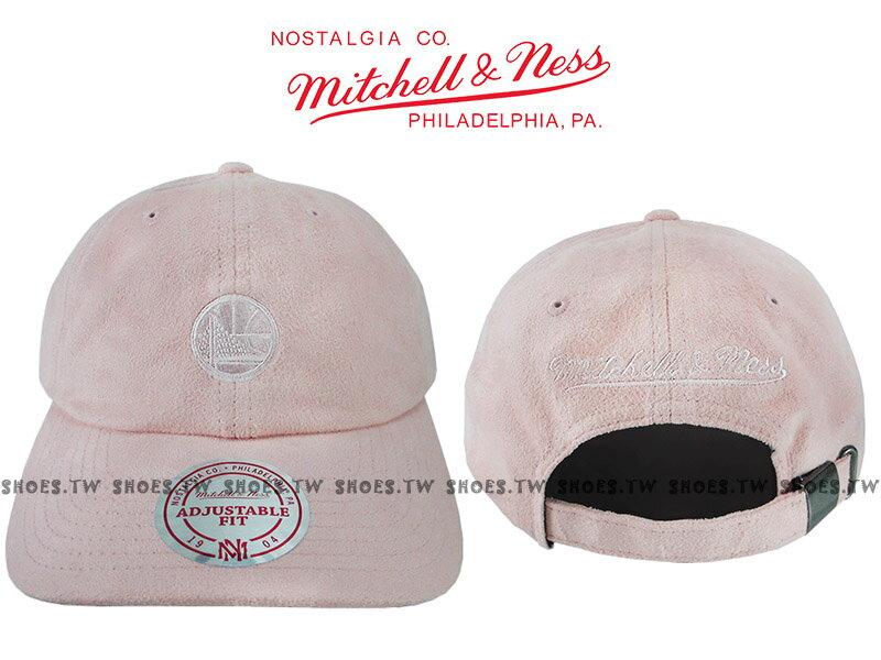 《下殺6折》Shoestw【5056036184875】Mitchell & Ness 老帽 SNAPBACK 勇士隊 粉紅色 麂皮 0