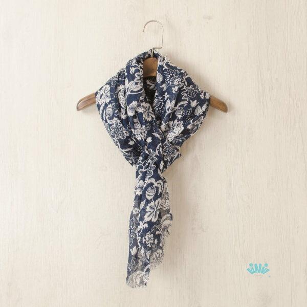 viNviLady典雅青花瓷花繪紋飾鬚邊圍巾絲巾
