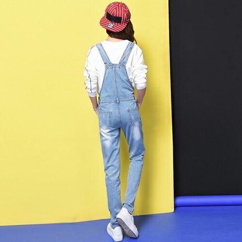 破洞牛仔無彈力背帶褲(藍色XS~XL) 【OREAD】 1