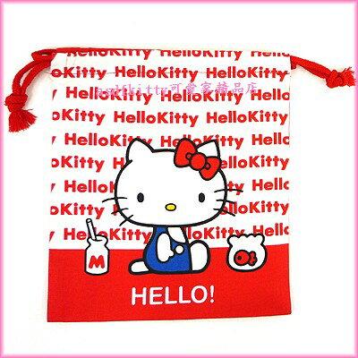 asdfkitty可愛家☆KITTY紅色 束口袋-日本製