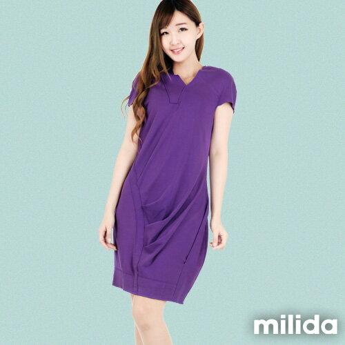 【Milida,全店七折免運】-春夏商品-V領款-修身氣質洋裝 0