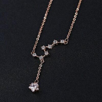~玫瑰金項鍊 水晶純銀吊墜~優雅氣質精緻鑲鑽生日情人節 女飾品2色73dw121~ ~~米