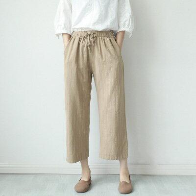 韓系女裝寬鬆休閒抽繩收腰條紋七分褲樂天時尚館。預購。[全店免運]