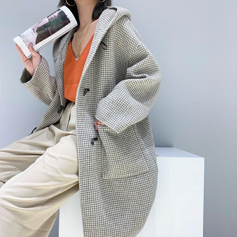 毛呢大衣羊毛外套-長版牛角扣大口袋連帽女外套2色73wb43【獨家進口】【米蘭精品】 1