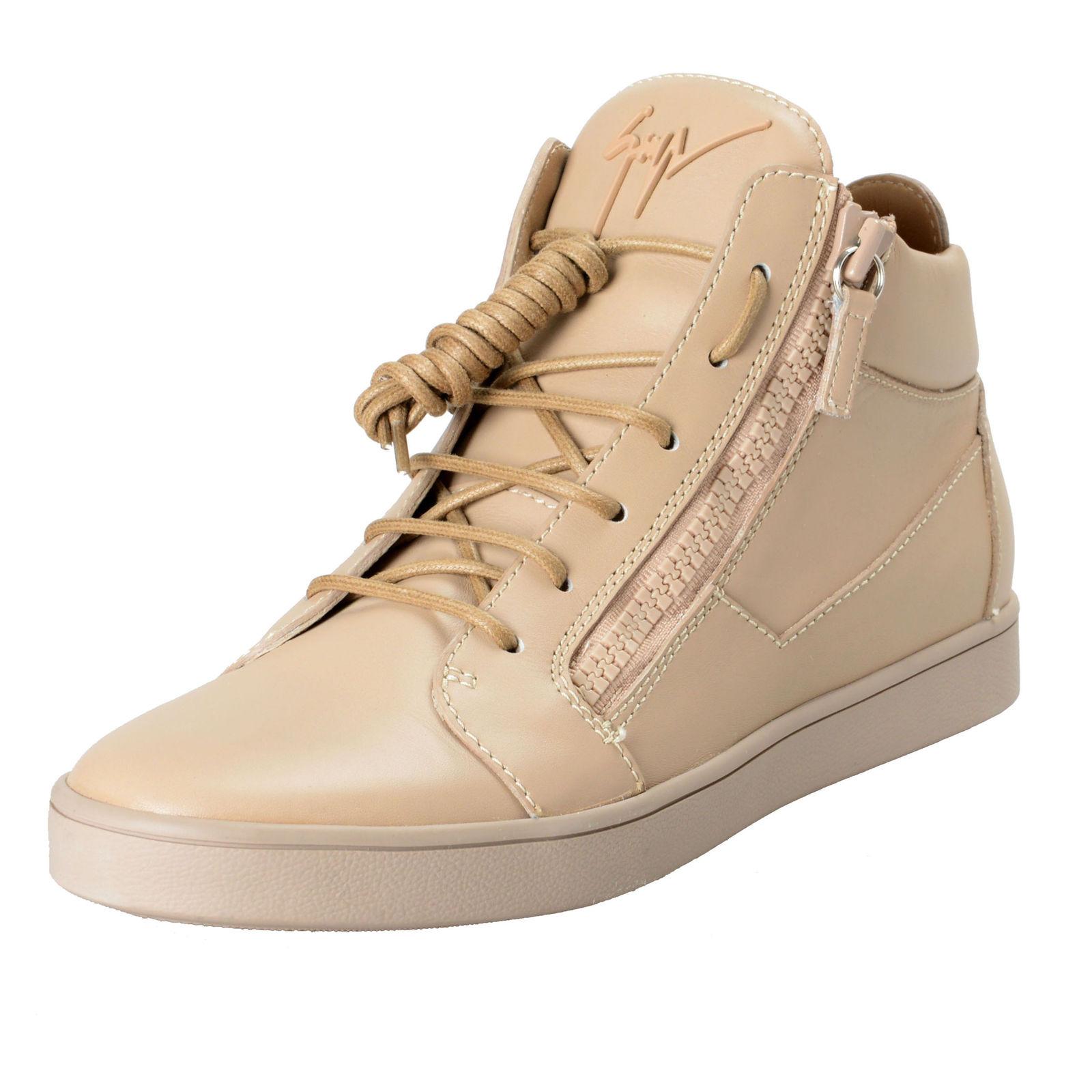 fc0f0b23fe2f9 Giuseppe Zanotti Men's Beige Leather Hi Top Fashion Sneakers Shoes US 9 IT  ...