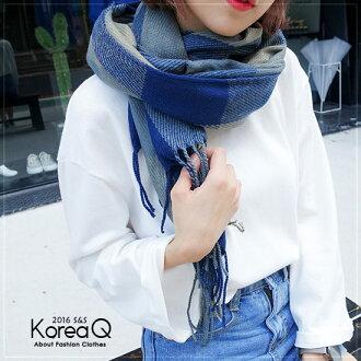 圍巾 韓系藍灰格紋流蘇披肩圍巾(預+現) Korea Q【14100045】
