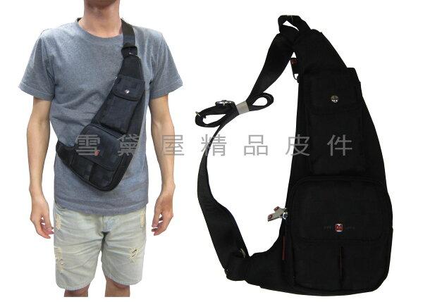 ~雪黛屋~OVER-LAND單肩後背包小容量可單左肩單右肩防水尼龍布材質輕便隨身物品型男必備T2852