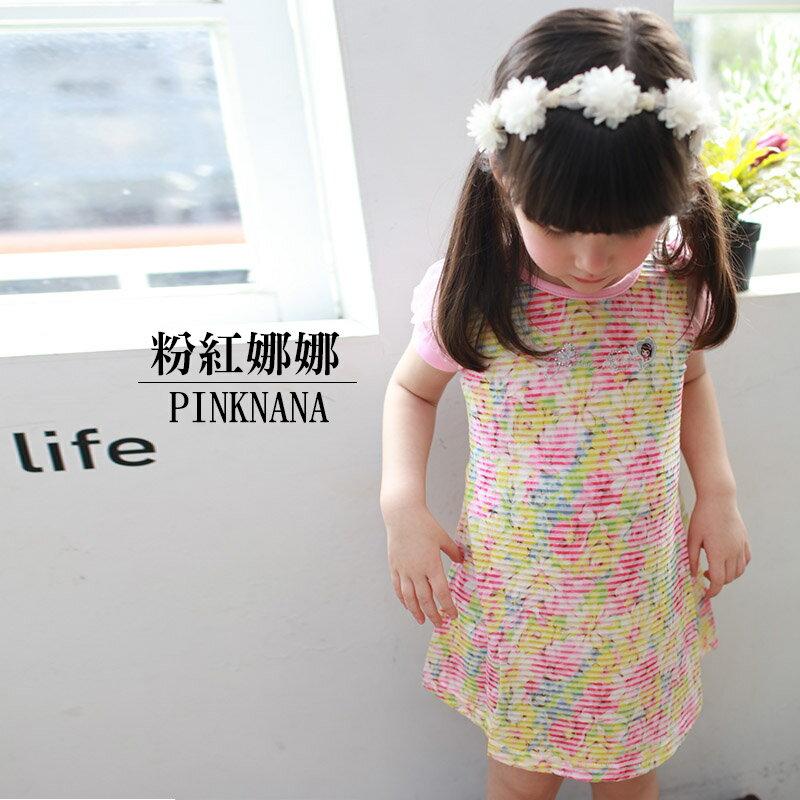 春夏小童霧花氣質細條紋洋裝 長上衣 S33566 粉紅娜娜童裝