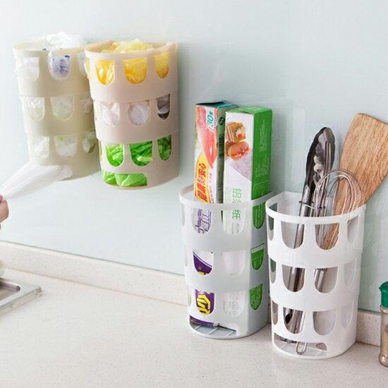 ?MY COLOR?黏貼式鏤空收納盒 垃圾袋 雜物 廚房 餐具 工具 洗漱 衛浴 牆面 壁面 掛孔【G14-1】