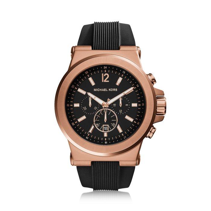 美國百分百【Michael Kors】手錶 MK8184 腕錶 MK 男錶 女錶 不鏽鋼 橡膠 三眼 玫瑰金 H798