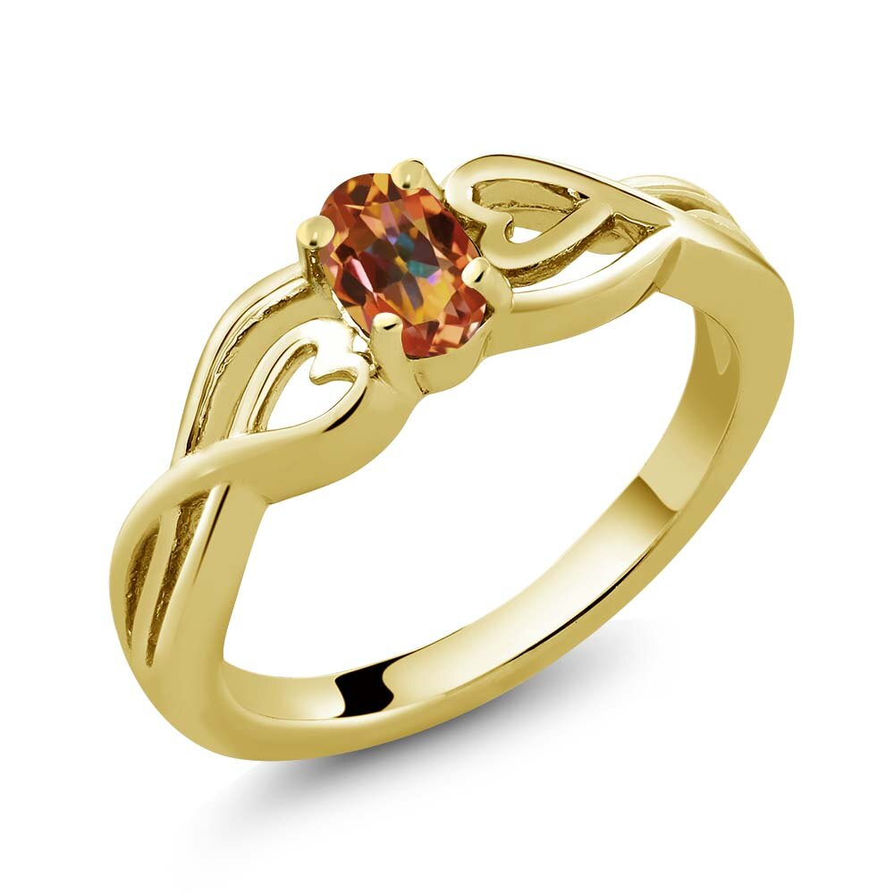 0.50 Ct Oval Ecstasy Mystic Topaz 18K Yellow Gold Plated Silver Ring 0