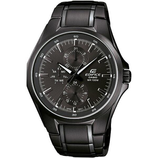 CASIO EDIFICE EF-339BK-1A1極黑三眼雙日曆賽車腕錶/黑面44mm
