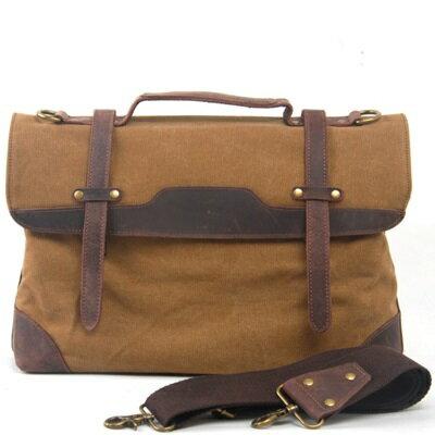 <br/><br/>  ☆手提包瘋馬皮帆布側背包-歐美復古街頭有型男包包3色73nd49【獨家進口】【米蘭精品】<br/><br/>