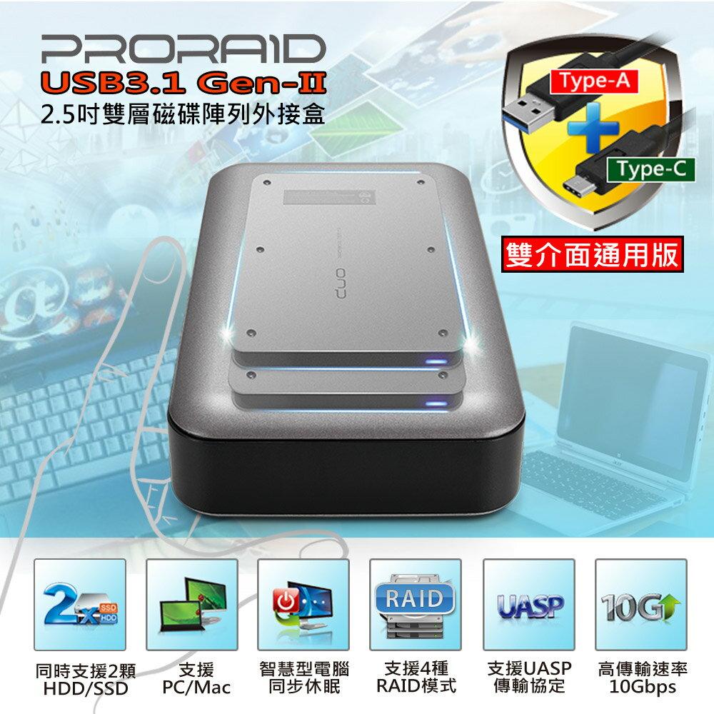 [富廉網] 【Probox】USB 3.1 Gen-II 2.5吋 SATA RAID雙層硬碟外接盒 (雙介面通用版) HUR6-SU31 - 限時優惠好康折扣