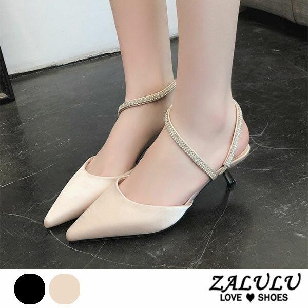 ZALULU愛鞋館7EE059預購獨家特色.閃閃中跟尖頭拖鞋-黑裸粉-35-39