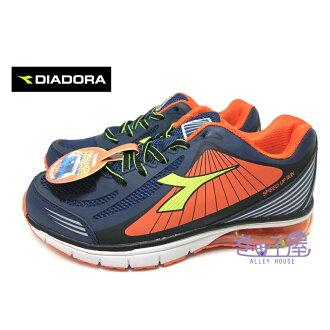 【巷子屋】義大利國寶鞋-DIADORA迪亞多納 男童寬楦抗壓氣墊運動慢跑鞋 [2696] 深藍桔 超值價$498