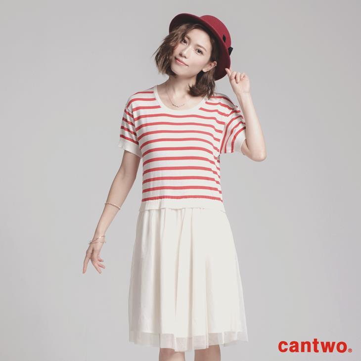 cantwo針織網紗假兩件短袖洋裝(共四色)