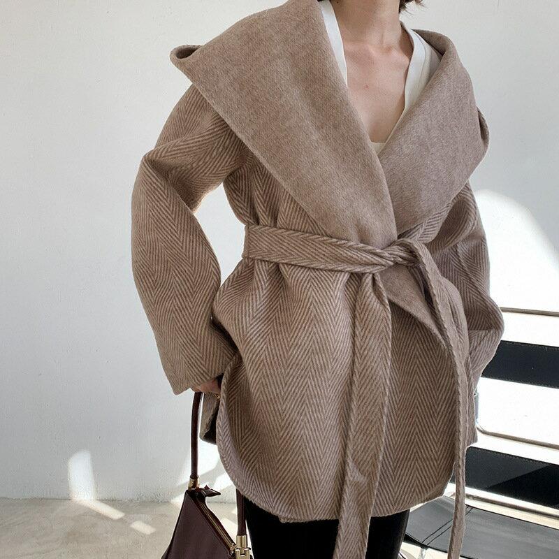 毛呢大衣羊毛外套-短版繫帶寬鬆連帽女外套4色73wb24【獨家進口】【米蘭精品】 2