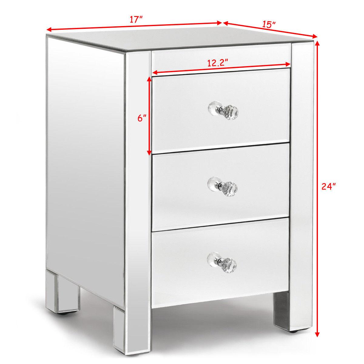 Costway Mirrored Nightstand 3 Drawer Modern Mirror End Table Storage Accent  Cabinet 1