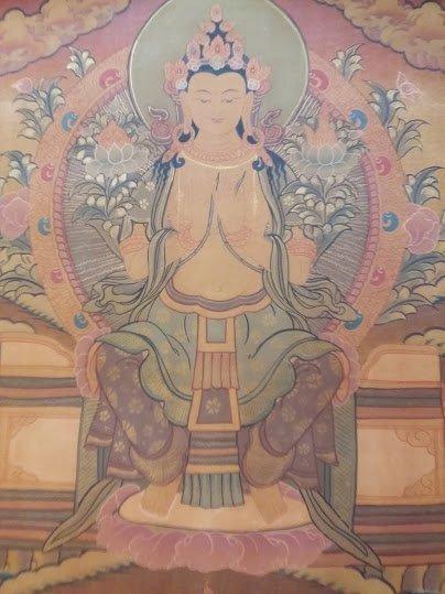 尼泊爾手繪唐卡 未來佛彌勒佛唐卡 慈悲滿願尊
