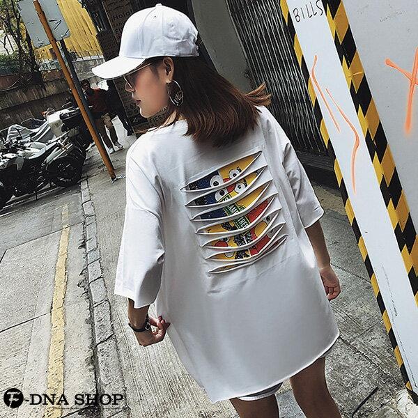 F-DNA★前英字後割破卡通圓領五分袖上衣T恤(3色-M-2XL)【ET12696】 5