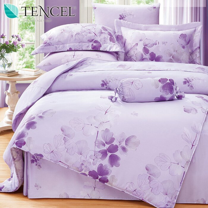 100%純天絲四件式床包鋪棉兩用被套組_雙人加大6x6.2尺_花舞(紫)《GiGi居家寢飾生活館》
