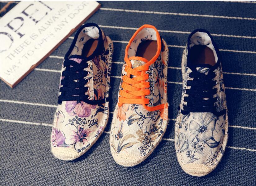 夏季帆布男鞋潮流男士鞋情侶休閒鞋亞麻草編布鞋漁夫鞋透氣懶人鞋
