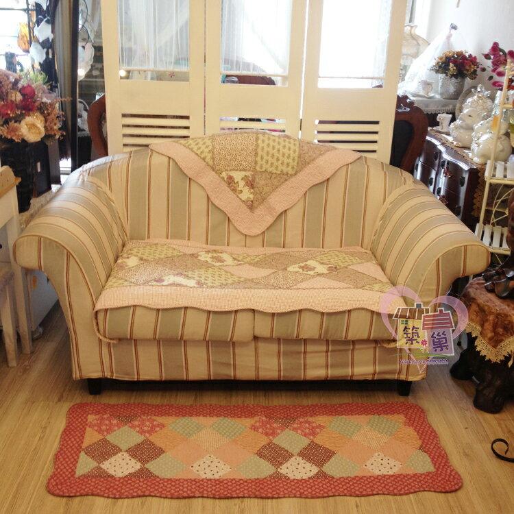 棉質菱格木耳邊(紫)拼布沙發墊/萬用墊-單人70x70/兩人70x150/三人70x180