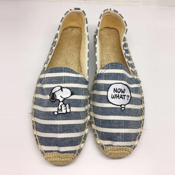 條紋牛仔 snoopy 草編鞋 平底鞋 包頭鞋 便鞋 小白鞋 編織鞋 帆布鞋 懶人鞋 休閒鞋 歐美日韓 史奴比 史努比 ANNA S.